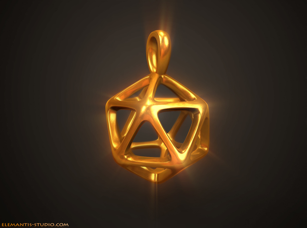 Icosahedron Platonic Solid Pendant in Natural Brass