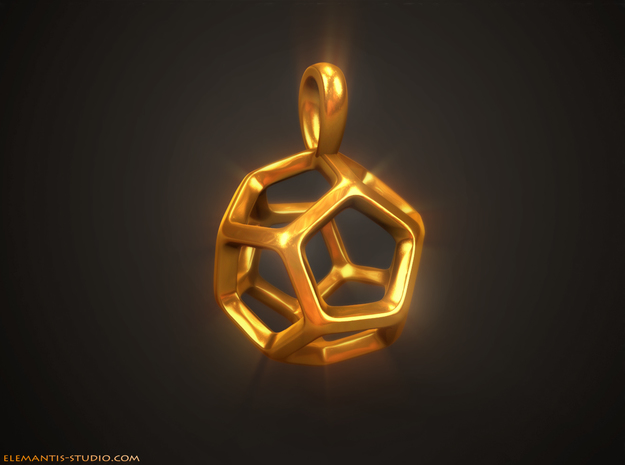 Dodecahedron Platonic Solid Pendant in Natural Brass