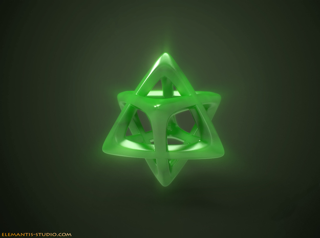 Star Tetrahedron (Merkaba)  in Green Strong & Flexible Polished