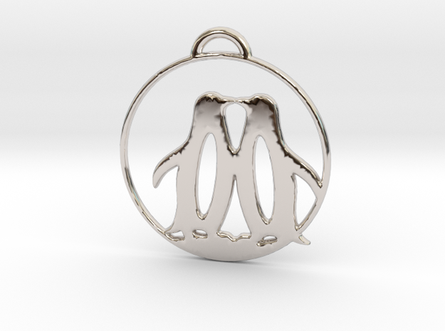 Penguins Kissing Necklace in Rhodium Plated Brass