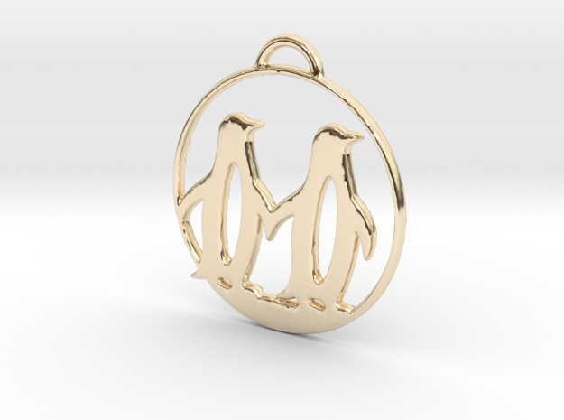 Penguins Couple H Necklace in 14k Gold Plated Brass