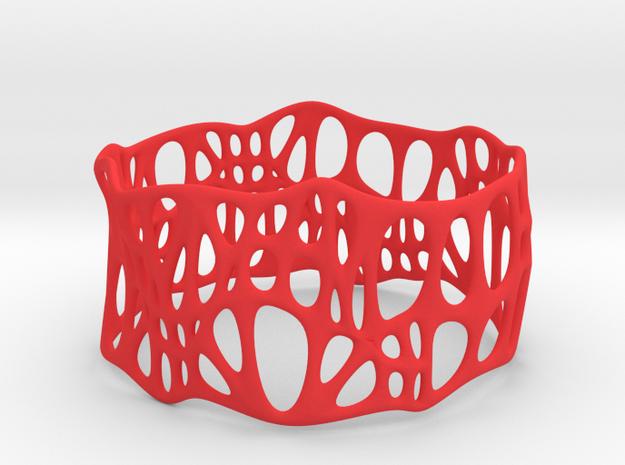 Voronoi Dodecagonal Bracelet 40mm (004) in Red Processed Versatile Plastic