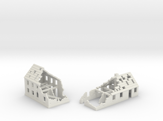 1:350 Ruins x2 in White Natural Versatile Plastic