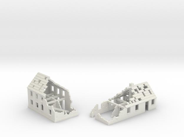 1:350 Ruins x2 in White Natural Versatile Plastic
