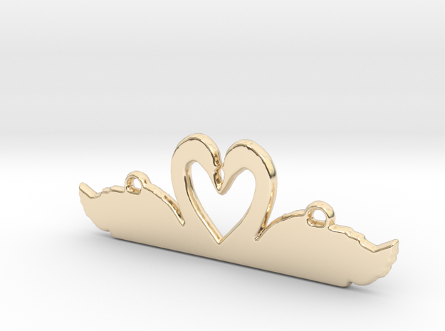Swans Heart Necklace in 14k Gold Plated Brass