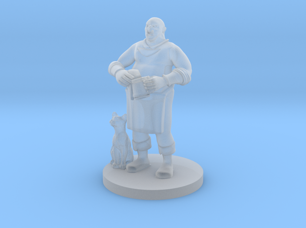 Half Orc BarKeep with Bar Cat in Smooth Fine Detail Plastic