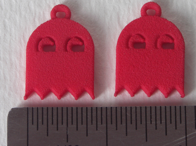 PacMan Ghost Earrings 3d printed Coral Red (no longer available)