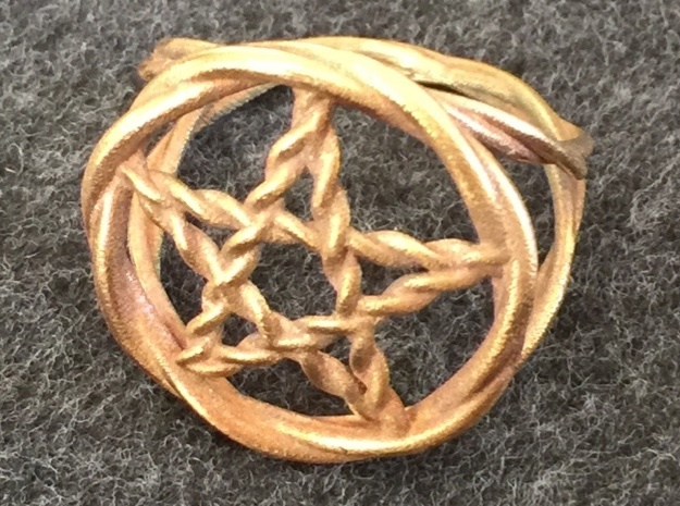 Pentacle ring - braided in Natural Bronze: 6 / 51.5