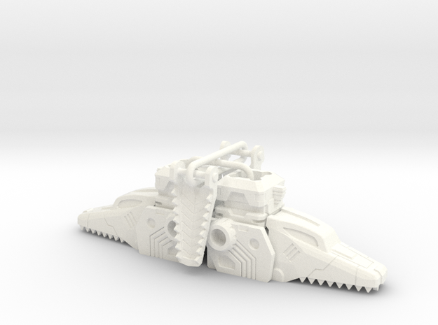 Terror Combiner's Dragon Head Knee Caps in White Strong & Flexible Polished