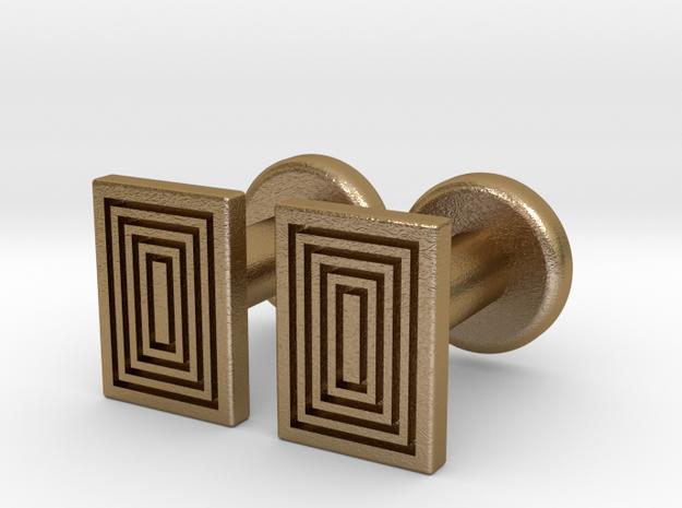 Geometric, Minimalistic Men's Rectangular Cufflink in Polished Gold Steel