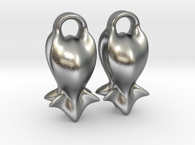 """""""A fish tail"""" Earrings in Natural Silver"""
