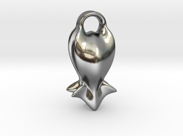 """""""A fish tail"""" Pendant in Polished Silver"""