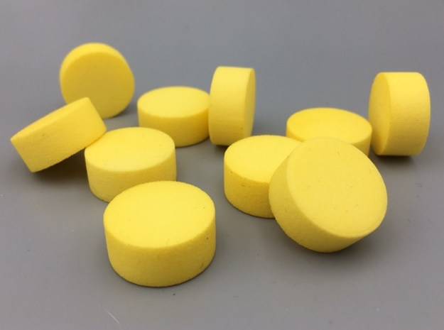 Cylindrical Coin Set - Ratio 1 : 7/3 in Yellow Processed Versatile Plastic