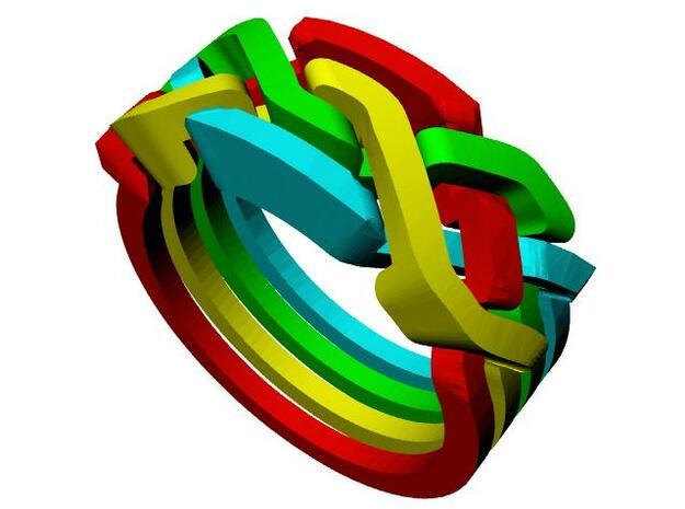 Holistic Ring interlocking metal 3d printed Weave pattern