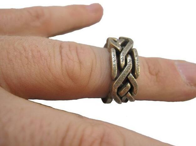 Holistic Ring interlocking metal 3d printed On finger