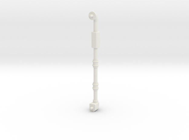 Small 70mm long pipe 3mm dia in White Natural Versatile Plastic