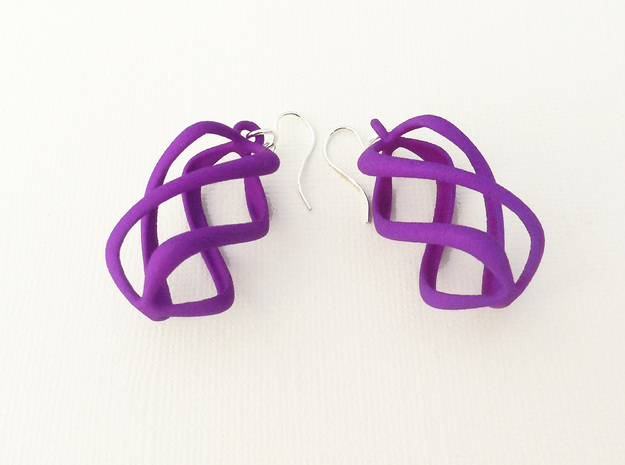 Twisty - Earrings in Nylon Plastic in Purple Processed Versatile Plastic
