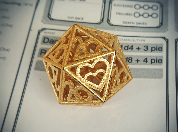 All 20s D20 - Custom Piece in Polished Gold Steel