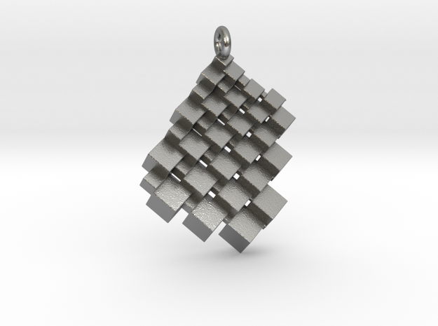Squaring the Plane Pendant II in Natural Silver
