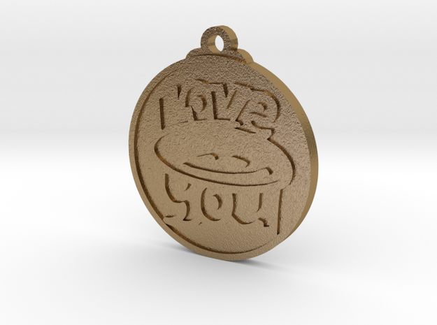 Love You face pendant in Polished Gold Steel