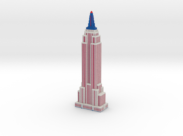 Empire State Building - Patriotic - Color Scheme 3 in Full Color Sandstone