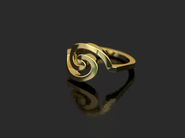 Bold Archimedes Spiral Ring, Size 8 in Polished Bronze