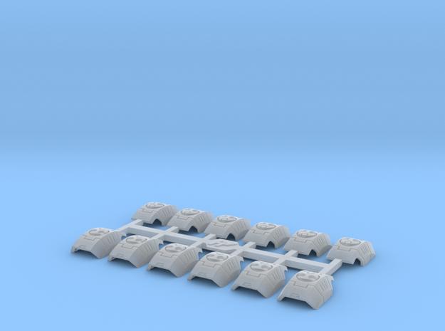 Shoulder Pads Curved Delta 1 in Smooth Fine Detail Plastic