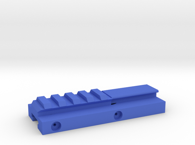 Hybrid Nerf Rail Adaper (95mm) in Blue Processed Versatile Plastic