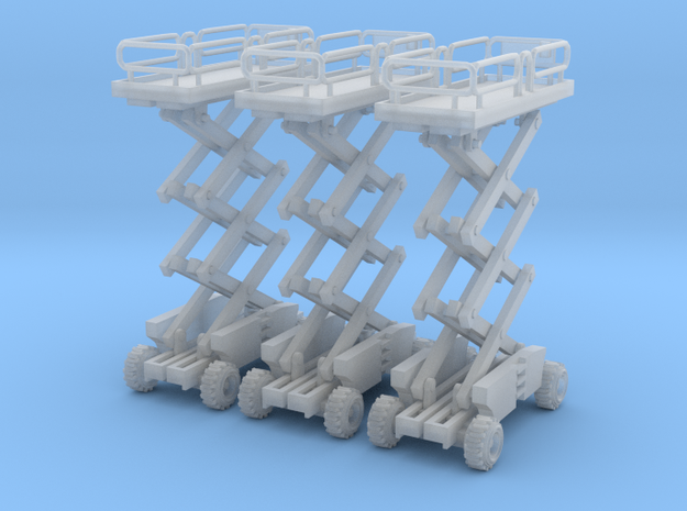 3 scissor lifts N scale in Smooth Fine Detail Plastic