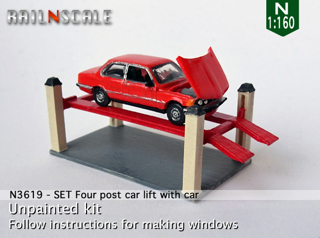 SET Four post car lift with car (N 1:160) in Smooth Fine Detail Plastic