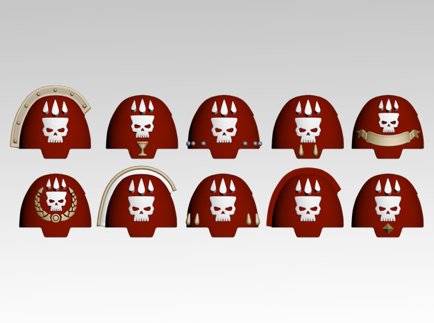 Bloody Skull Embellished Terminator Pads x10 in Smoothest Fine Detail Plastic
