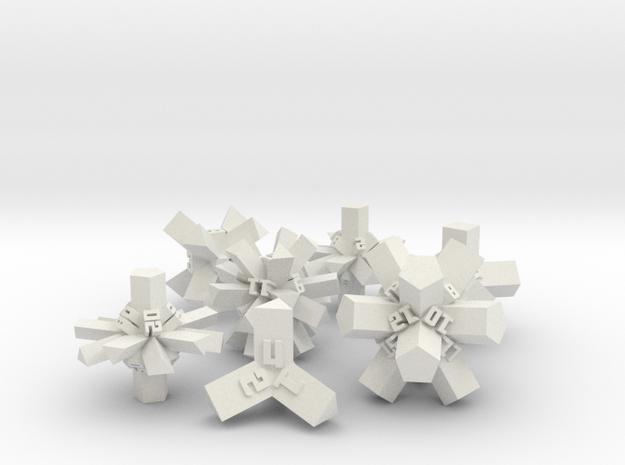 Brutalist Dice Set — Version 1 (7 pc.) in White Natural Versatile Plastic