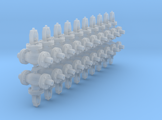 1:48 6 inch Globe Valves 20ea in Smooth Fine Detail Plastic