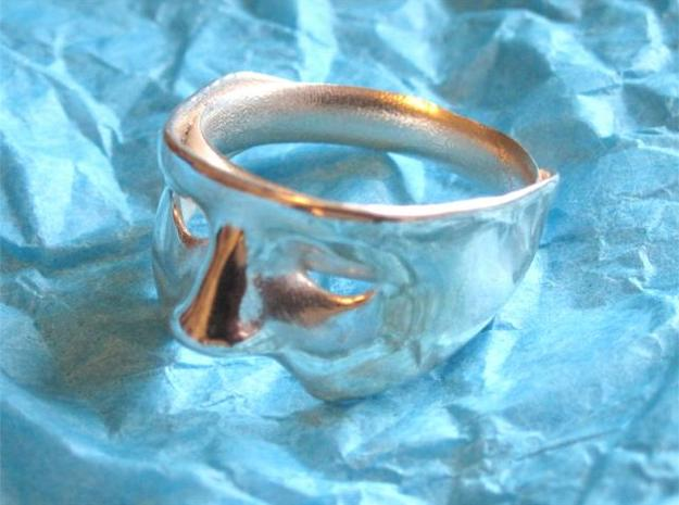 Mask Ring US size 9.25 3d printed Polished Silver