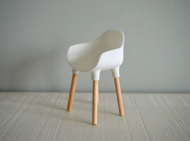 1:12 Chair v3 wooden legs 1 in White Natural Versatile Plastic