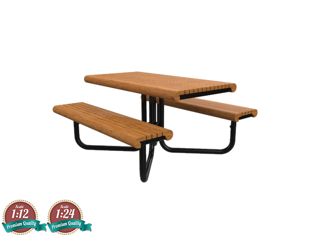 Miniature Gretchen Picnic Table - Landscape Forms in White Strong & Flexible: 1:24