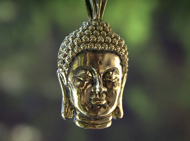 Buddha Head pendant in 18k Gold Plated Brass