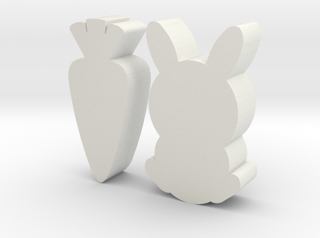 Bunny Carrot Game Pieces in White Natural Versatile Plastic