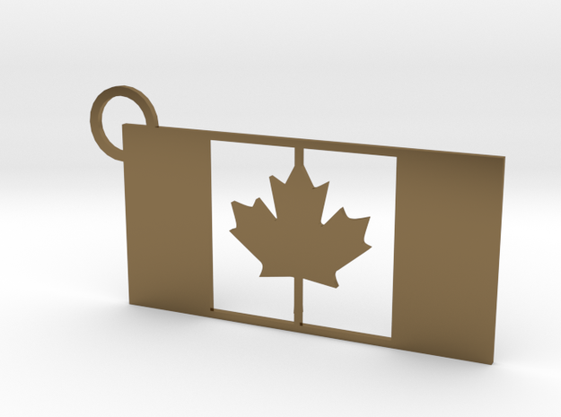 Canadian Flag Keychain in Polished Bronze