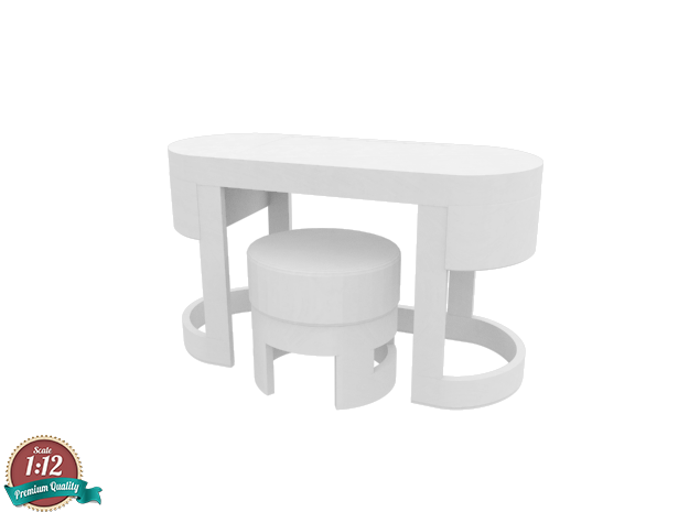 Miniature Turri Dressing Table & Pouf Dolce in White Natural Versatile Plastic: 1:12
