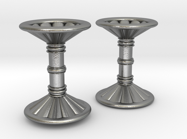 Channeled Column Cufflinks in Natural Silver