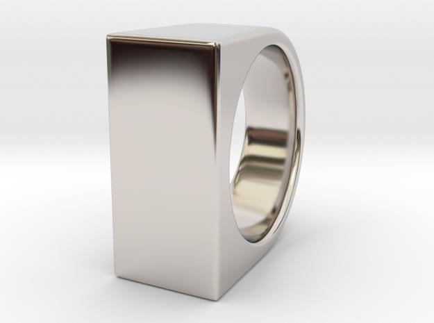 Signe Unique V - US 8  - Signet Ring in Rhodium Plated Brass
