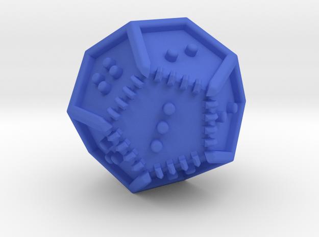 Braille Twenty-sided Die d12 in Blue Processed Versatile Plastic
