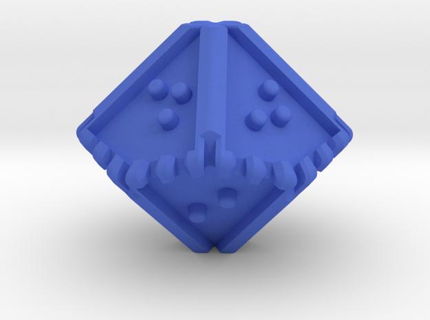 Braille Ten-sided, Blunt-tipped Die d10 in Blue Processed Versatile Plastic