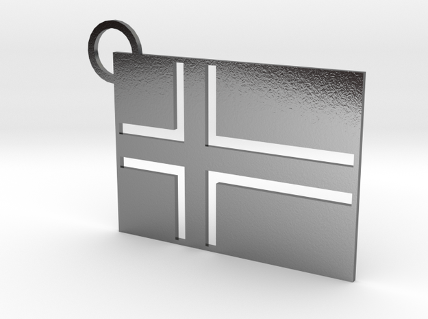 Norway Flag Keychain in Polished Silver