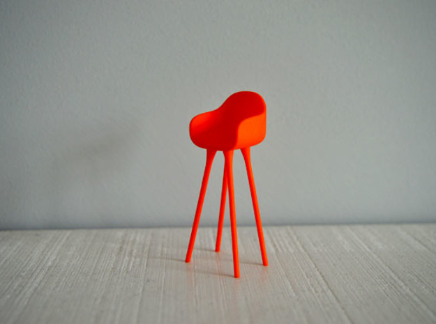1:12 Highchair complete 3 in Red Processed Versatile Plastic