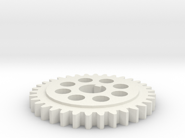 Gear 20 degree 34 teeth 15.5mm bore 8 holes keyway in White Natural Versatile Plastic
