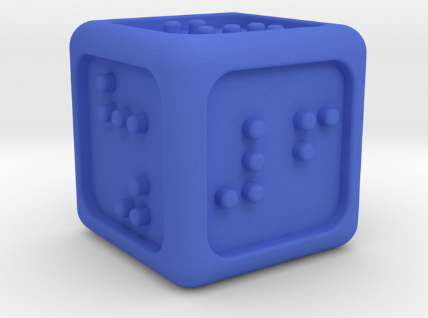Braille Six-sided Die d6 (Rounded corners) in Blue Strong & Flexible Polished