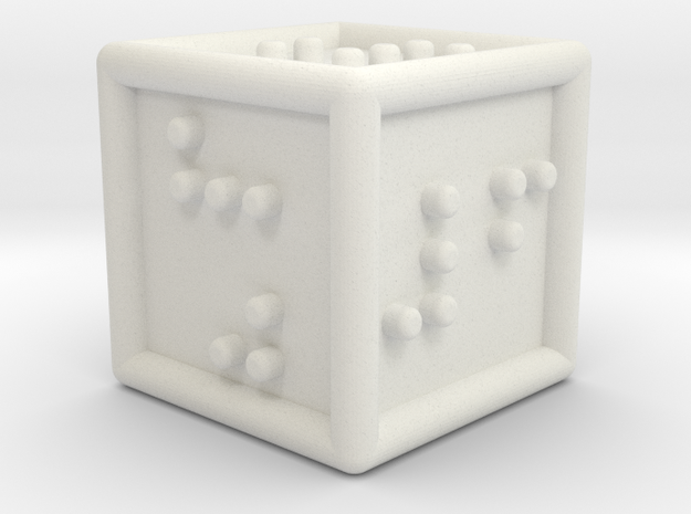 Braille Six-sided Die d6 in White Natural Versatile Plastic