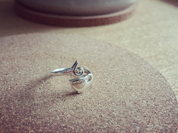 coffee or tea midi ring in Polished Silver